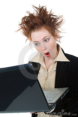 Angry crazy Businesswoman with a laptop