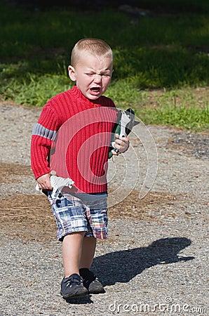 Angry crying boy
