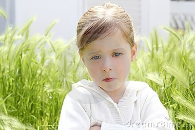 Angry Disappointed Gesture Little Girl Meadow Stock Photos - Image: 15164063