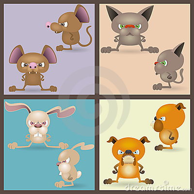 Angry domestic animals set