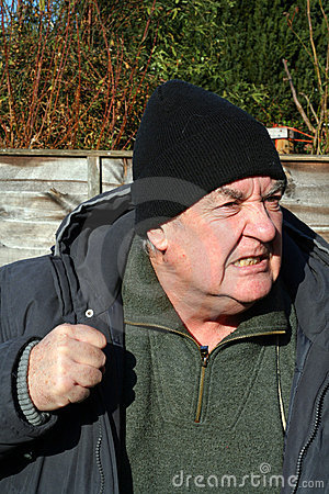 Aggression-angry elderly man