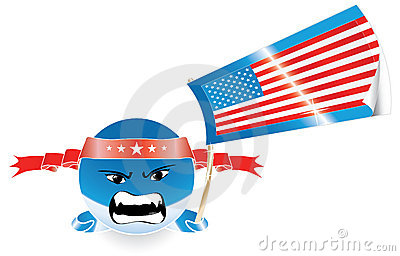 Angry evil American emoticon with US flag