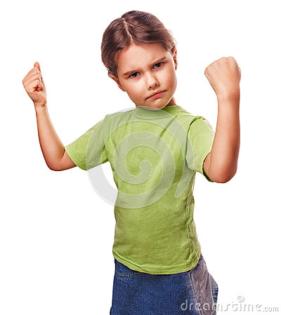 Free Angry Evil Girl Female Child Shows Fists Stock Image - 35633431