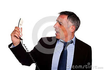 Angry executive screaming on phone