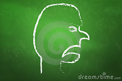 Angry Face on blackboard