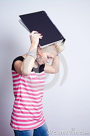 Angry girl with black folder