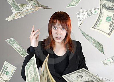Angry girl throwing money in your face
