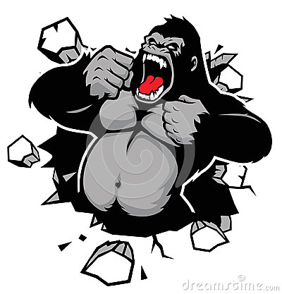Free Angry Gorilla Breaking The Wall Stock Photo - 35934280