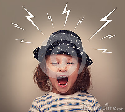 Free Angry Kid In Hat Screaming White Lightnings Above Stock Photography - 43682832