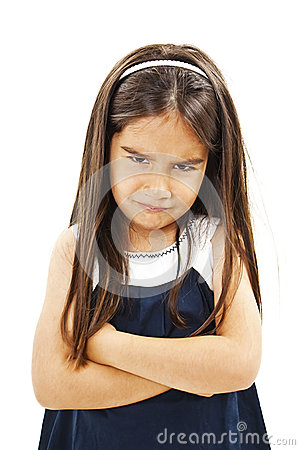 Free Angry Little Girl Whit Folded Hand Stock Photos - 75000953