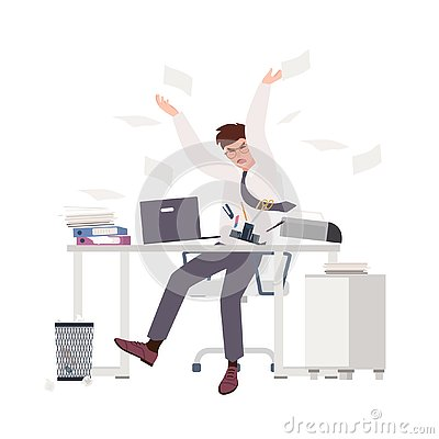 Free Angry Male Clerk Sitting At Desk And Throwing Documents. Fearful Man At Office. Stressful Work, Stress At Workplace Stock Photos - 135629343