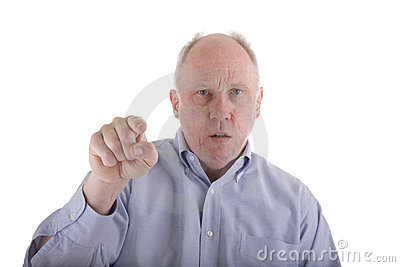 Angry Man in Blue Shirt Pointing at Camera