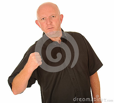 Angry man with clenched fist