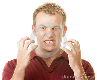 Angry Man Clenching Teeth