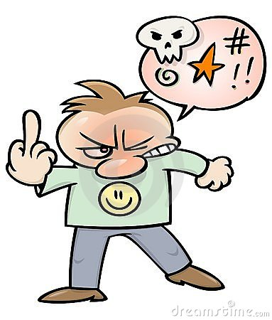 Angry man flipping the bird