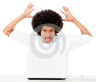Angry man with a laptop