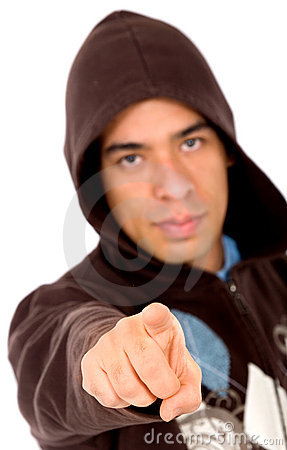 Angry man pointing at you