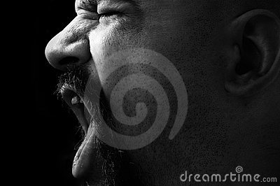 Angry man shouting in black and white