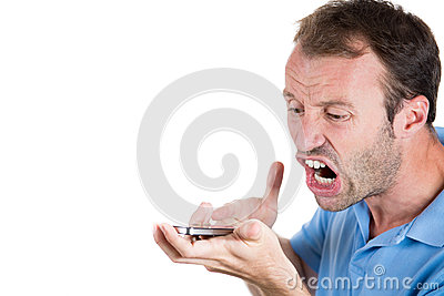 Angry man shouting while on phone