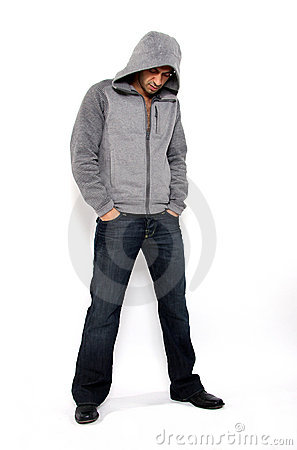 Angry Man wearing hooded sweater