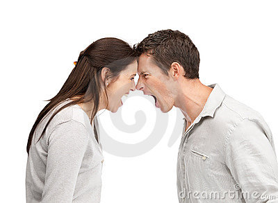 Angry man and woman yelling at each other