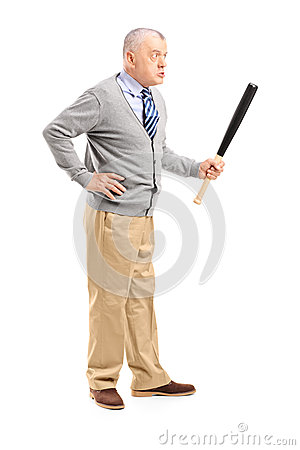 An angry middle aged man holding a baseball bat