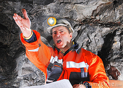 Angry mine worker