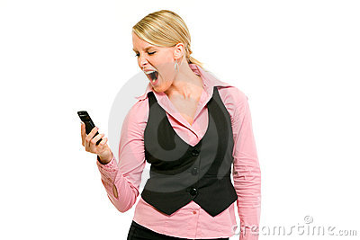 Angry modern business woman shouting on mobile