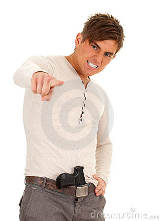 Angry oung man with gun