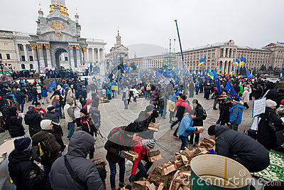 Angry people occupide main Maidan square and ask t Editorial Stock Photo