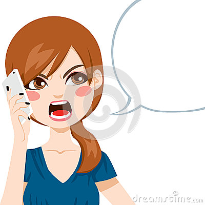 Young woman upset screaming angry in a phone call conversation.