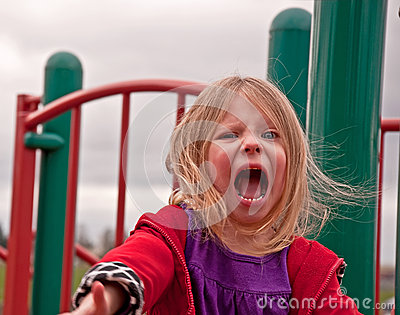 Angry Preschool Girl on Playground