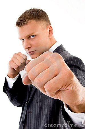 Angry professional showing boxing gesture