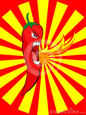 Angry red chili spurt fire