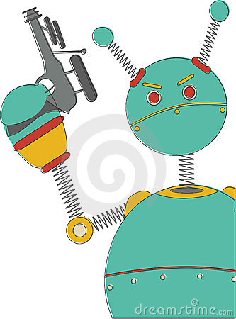 Angry Robot with sci-fi gun retro vintage