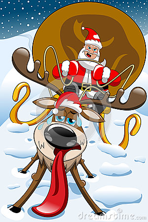 Free Angry Santa Claus Christmas Sleigh Exhausted Reindeer Stock Photo - 46522860