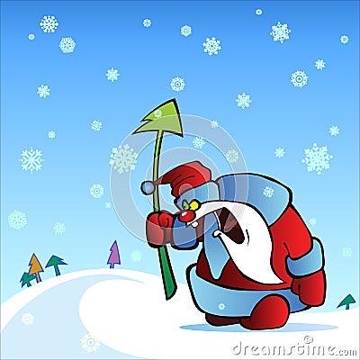 Angry santa with fir