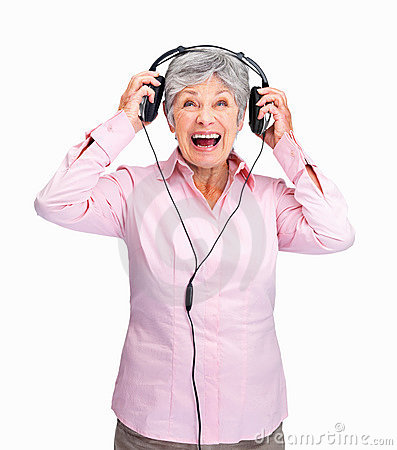 Angry senior lady with headphones
