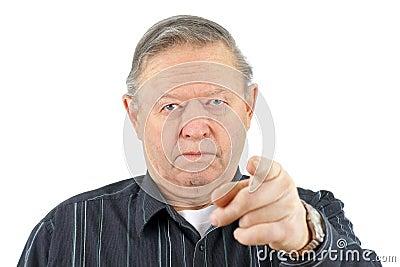 Angry senior man pointing