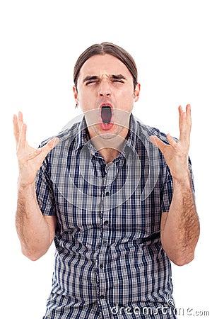 Angry shocked man screaming
