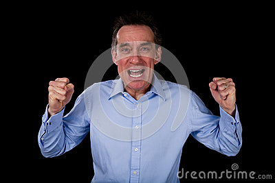 Angry Shouting Business Man Shaking Fists