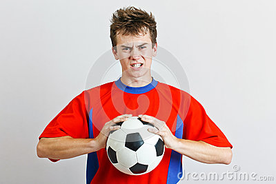 Angry soccer player