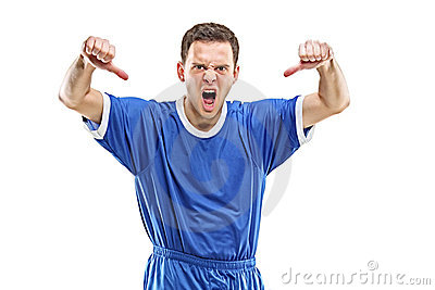 An angry soccer player shouting