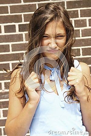 Angry teenager girl