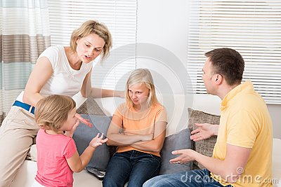 Angry upset family having argument