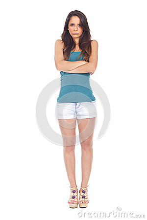 angry and upset woman with arms crossed royalty free stock