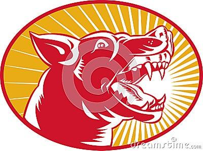 Angry wild dog wolf growling woodcut