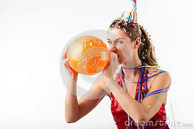 Angry Woman celebrating birthday with balloon