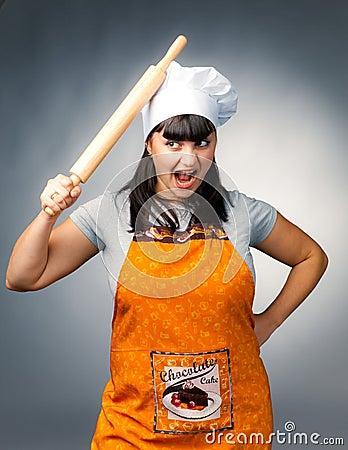 Angry woman cook