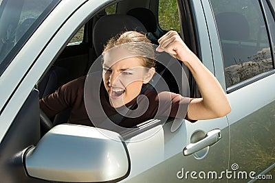 Angry woman driver